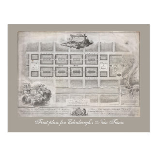 First plan of New Town, Edinburgh Postcard