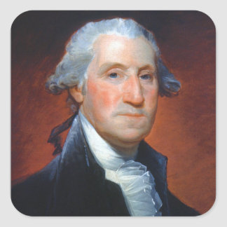 First President: George Washington Square Sticker