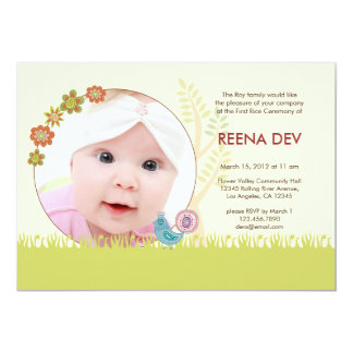 "First Rice Ceremony Floral Garden Invitation 5"" X 7"" Invitation Card"