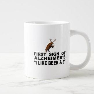 "First Sign Of Alzheimer's   ""I Like Beer & ?"" Large Coffee Mug"