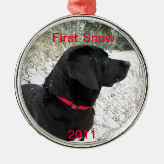 First Snow 2011 Round Metal Christmas Ornament