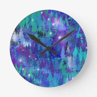 First snowflakes of winter round clock