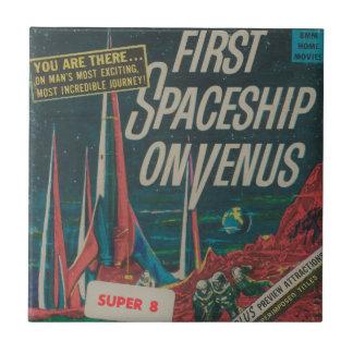 First Spaceship on Venus Vintage Scifi Film Ceramic Tile
