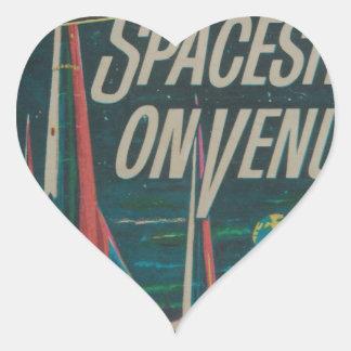 First Spaceship on Venus Vintage Scifi Film Heart Sticker