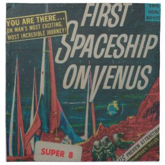 First Spaceship on Venus Vintage Scifi Film Napkin