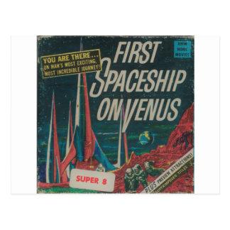 First Spaceship on Venus Vintage Scifi Film Postcard