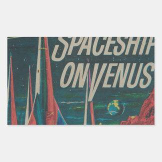 First Spaceship on Venus Vintage Scifi Film Rectangular Sticker