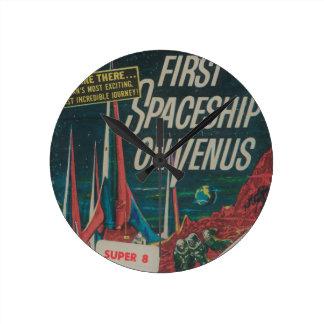 First Spaceship on Venus Vintage Scifi Film Round Clock