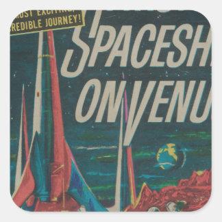 First Spaceship on Venus Vintage Scifi Film Square Sticker