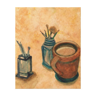 First Thing in Morning Coffee Artist Kitchen Art Gallery Wrap Canvas
