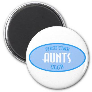 First Time Aunts Club (Blue) Fridge Magnet