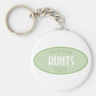 First Time Aunts Club (Green) Basic Round Button Key Ring