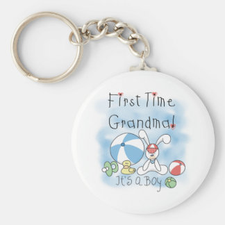 First Time Grandma Baby Boy Basic Round Button Key Ring