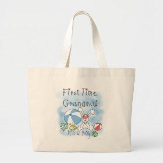 First Time Grandma Baby Boy Jumbo Tote Bag