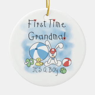 First Time Grandma of Boy Gifts Round Ceramic Decoration