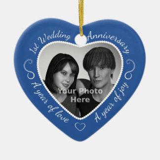 First Wedding Anniversary Photo Ceramic Heart Decoration