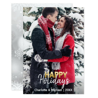 First Xmas Happy Holidays Married Engaged | PHOTO Card