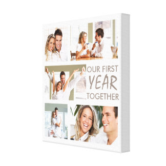 First Year Relationships Photo Collage Canvas Print