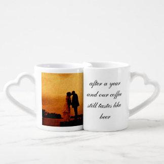 First year wedding anniversary keepsake coffee mug set