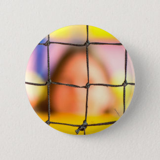 Fischer net with woman in the background 6 cm round badge