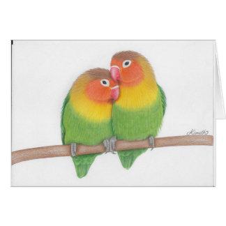 fischers lovebird cuddle grettings card
