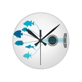Fish a guitar round clock