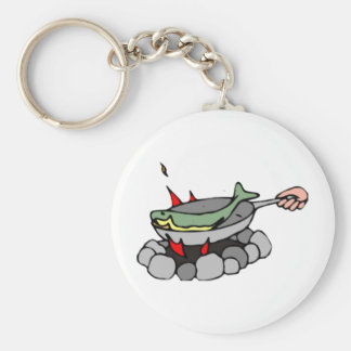 Fish and a Campfire Basic Round Button Key Ring