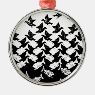 fish and birds Silver-Colored round decoration