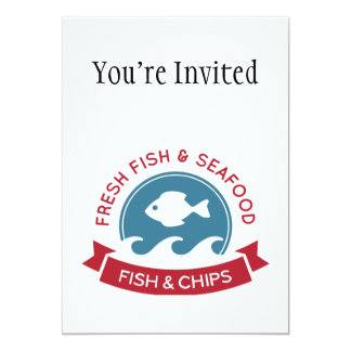 Fish And Chips Seafood Logo Custom Announcements