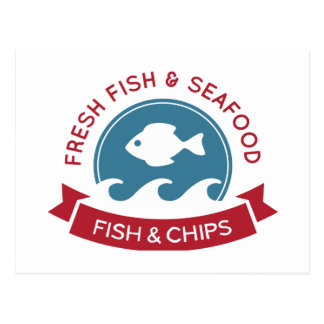 Fish And Chips Seafood Logo Postcard