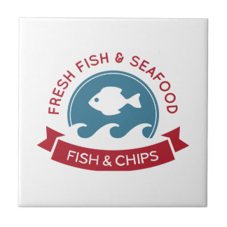 Fish And Chips Seafood Logo Tile