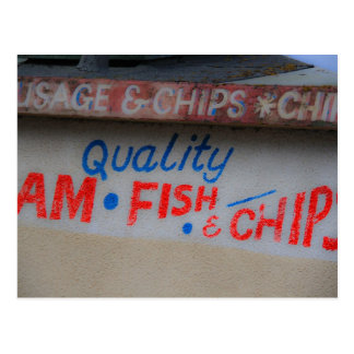 Fish and Chips Sign Postcard