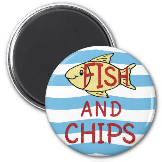 Fish and Chips Square Design Magnet