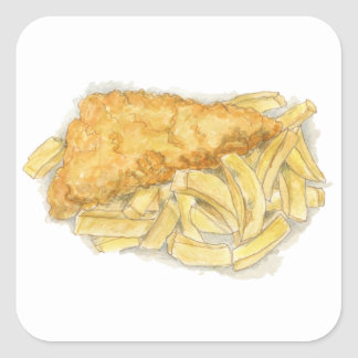 fish and chips square sticker