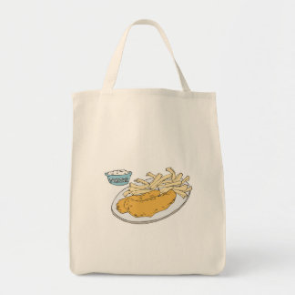 fish and chips grocery tote bag