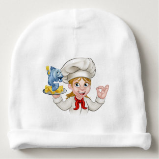 Fish and Chips Woman Chef Baby Beanie