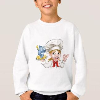 Fish and Chips Woman Chef Sweatshirt