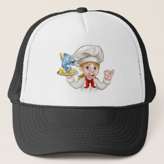 Fish and Chips Woman Chef Trucker Hat