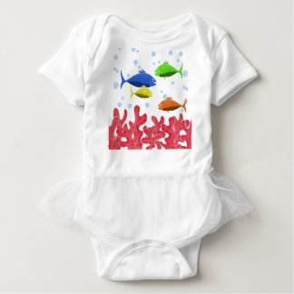 Fish and corals baby bodysuit