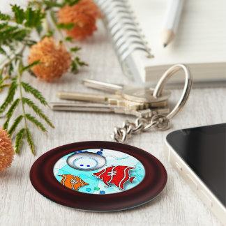 Fish and diver key ring