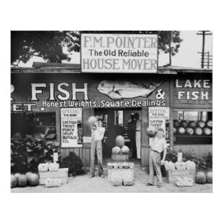 Fish and Fruit: 1936 Poster