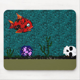 Fish and Skull Mouse Pad