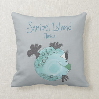 Fish Artwork Sanibel Island FL Cushion