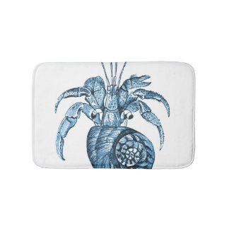 Fish beach coastal ocean blu white bath mats