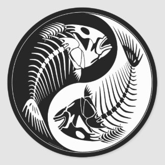 Fish Bone Yang Round Sticker