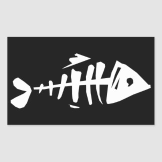Fish Bones Rectangular Sticker