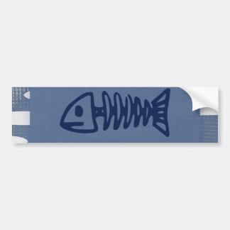 Fish Bones Skeletons on Blue Gifts Bumper Sticker