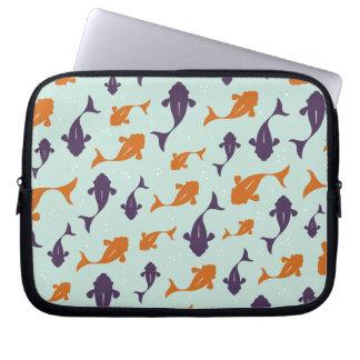 Fish Bowl | Aqua Orange Pattern Design Laptop Sleeve