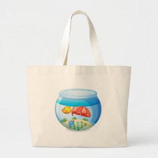 Fish bowl isolated on white background jumbo tote bag