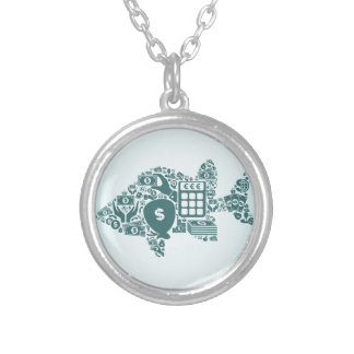 Fish business silver plated necklace